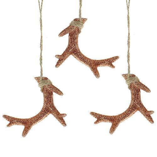 MACOSA WV40620 Christbaumschmuck Hirsch -Geweih 3 Stück Kupfer Weihnachtsdeko Baumschmuck Weihnachtsbaum Hänger Adventskranz-Deko Türkranz-Anhänger