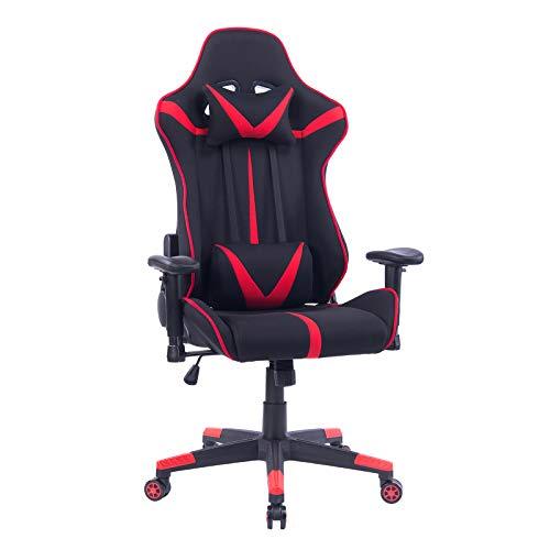 WOLTU® Racing Stuhl Gaming Stuhl Bürostuhl Schreibtischstuhl Sportsitz mit Armlehne, mit Kopfstütze und Lendenkissen, höhenverstellbar, dick gepolsterte Sitzfläche aus Stoffbezug, Rot, BS38rt