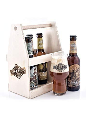 Wacken Brauerei - Eine Hand voll Götter im Holzträger - Craft beer Set 5x Beer of the Gods - Craftbier-Paket Craftbeer Glas mit Logo - Göttergabe