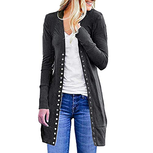 i-uend 2018 Ausverkauf Damen Herbst Winter Langarm Mantel Warmer Lange Mantel Öffnen Sie Vorne Button Down Strickjacke Cardigan Pullover Outwear Plus Lose Drape