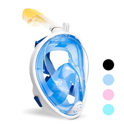ACTENLY Panorama Vollmaske Schnorchelmaske Tauchmaske Vollgesichtsmaske mit 180° Sichtfeld, Dichtung aus Silikon Anti-Beschlag & Wasserdicht für Kinder und Erwachsene Anti-Fog Anti-Leak (Blau, S/M)
