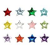 Contever® 1 Packung mit 120 Pc Assorted Mix 12 Farben Birthstone Kristall Charms 5mm für Living Memory Locket Medaillon (Floating Anhänger nicht einschließlich) - Star Shaped