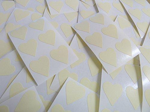 22x20mm Crema Beige Con Forma De Corazón Etiquetas, 90 auta-Adhesivo Código De Color Adhesivos, adhesivo Corazones para Manualidades y Decoración