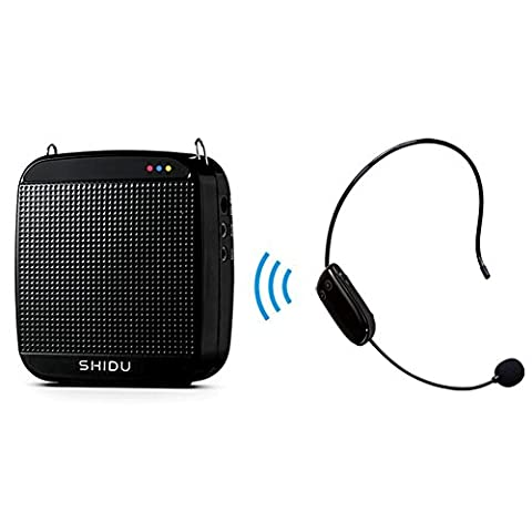 SHIDU SD-S613 Amplificateur de voix (18W) with 1200mAh pile au lithiumand and Casque sans fil pr les guides, les enseignants, conf¨¦renciers, animateurs (Noir/Wireless)