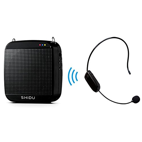 Amplificador de voz SHIDU SD-S613 (18 W) con batería de litio de 1200 mAh y micrófono inalámbrico para docentes / entrenadores / guías de turismo / instructor de yoga y más (negro / 18 W)