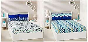 Amazon Brand - Solimo Abstract Waves 144 TC 100% Cotton Double Bedsheet with 2 Pillow Covers, Green and Jasmine Zest 144 TC 100% Cotton Double Bedsheet with 2 Pillow Covers, Blue Combo