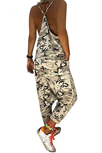 Landove Salopette Bretelles Femme Grande Taille Combinaison Militaire Camouflag