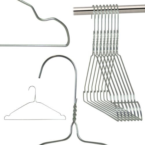 Hangerworld 50 Perchas 40cm de Metal Ahorra Espacio con Muescas Tintorerías Ideal para Camisas