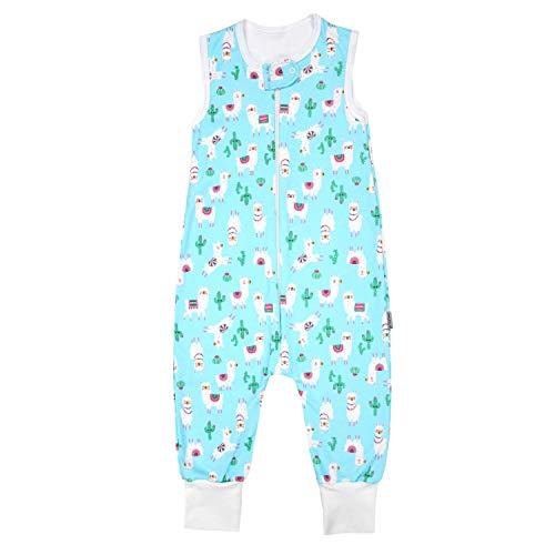 TupTam Unisex Babyschlafsack mit Beinen Unwattiert, Farbe: Lama/Türkis, Größe: 92-98 -