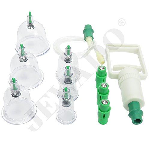 Schröpfen Set für Vakuum Massage aus Kunststoff + Vakuumpumpe im Set mit 6 Schröpfgläser