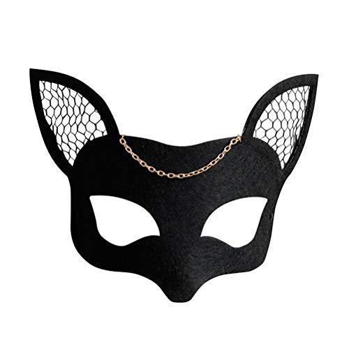 BESTOYARD Frau Fox Mesh Filz Maske Schwarz Maskerade Maske Tanz Cosplay Kostüm Party DIY Halloween Christmas Party Zubehör (Schwarz)