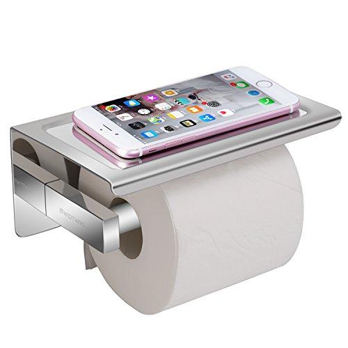 Worldwell montato a parete autoadesivi da bagno con carta 304design portarotolo cromato lucido con telefoni cellulari del supporto, in acciaio inox, argento