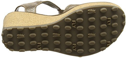 Fly London Ladies Sandali Con Plateau Oro Argento (luna 047)