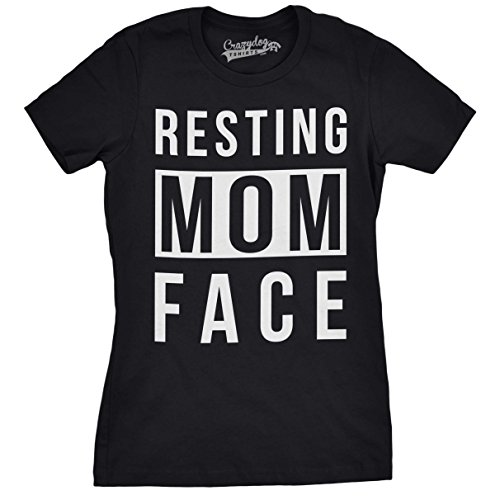Crazy Dog Tshirts - Womens Resting Mom Face Funny T Shirts Novetly Tees Mothers Day Gift Idea for Moms T Shirt (Black) -XXL - Divertente Donna Magliette
