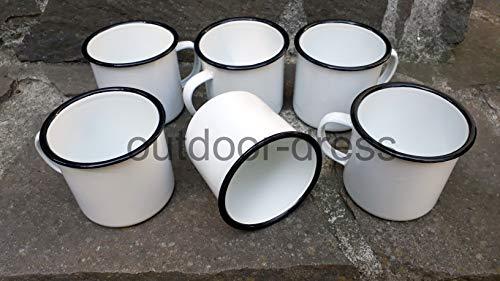 Nachtsheim Versandhandel 6er Pack Emailtassen Email-Tasse Westernbecher weiß schwarz 0,35 Liter Campingtasse Becher (Und Weiß Schwarz Geschirr-sets)