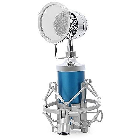 Yooyoo BM–8000Micro à condensateur de studio professionnel avec prise support 3,5mm bleu