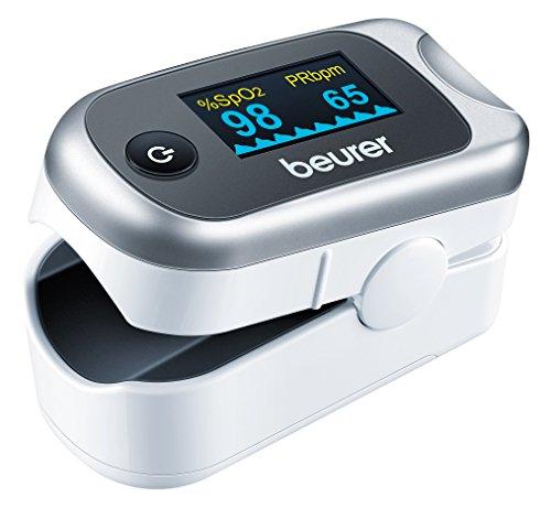 Beurer PO-40 - Pulsioxímetro de dedo, pantalla con 6 vistas, color blanco y plata