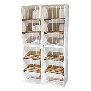 4X Vintage-Möbel 24 Weiße Holzkiste mit 2 geflammten Mittelbrettern 75cm x 40cm x 31cm Zwischenbretter flambiert Obstkiste Weinkisten Klassisch Schuhregal Bücherregal Kistenregal Holz Boxen