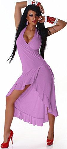 Jela London Damen Vokuhila Neckholder-Tanzkleid Abendkleid Latin Salsa Volant (34/36/38) Lavendel