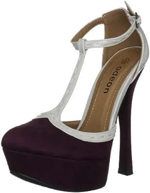 Odeon Women's Moray Satin Purple/Grey Ankle Strap Heels LS6255 3 UK