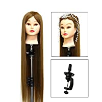 "Neverland Training Head, 24"" Brown Hairdressing Head 50% Real Human Hair Cosmetology Mannequin Manikin Doll with Makeup Function+ Hair Stying Braid Set+ Free Clamp"
