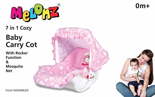 Melonz 7 in 1 Baby Carry Cot with Rocker Function & Mosquito Net Colour May Vary (PINK)