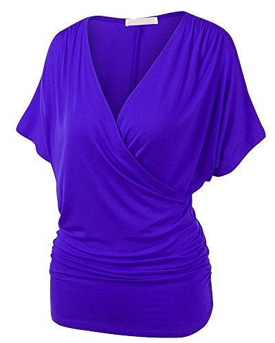 Femme Top Manches Courtes Chauve-souris T-shirt Extensible GranDe Taille Violet