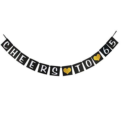 waway Cheers bis 65Geburtstag Banner Gold Glitzer Herz für 65. Jahrestag 65Jahre Alt Geburtstag Party Dekoration Supplies Schwarz (65)