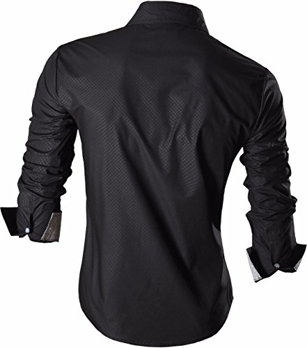jeansian Herren Freizeit Hemden Shirt Tops Mode Langarmshirts Slim Fit Men Shirt Z024 Black