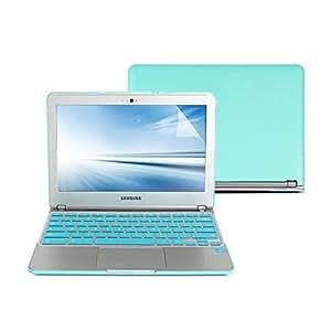 GMYLE(R) Hard Case Candy Frosted for Samsung Series 3 Chromebook 11.6 inch - Turquoise Bleu 4 en 1 caoutchouté (enduit en caoutchouc) dure coquille cas - Silicon clavier de protecteur (US Layout) et 11 pouces Effacer Protecteur d'écran LCD - pour Samsung Series 3 Chromebook 11.6 pouces (Non Fit pour Samsung Chromebook 2)