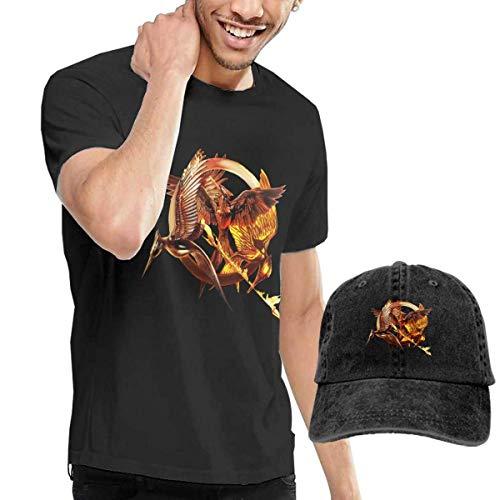 Games Hunger Männer Kostüm - SOTTK Kurzarmshirt Herren, t-Shirts, Tee's, The Hunger Games Men's Classic T-Shirt with Washed Denim Baseball Hat Black