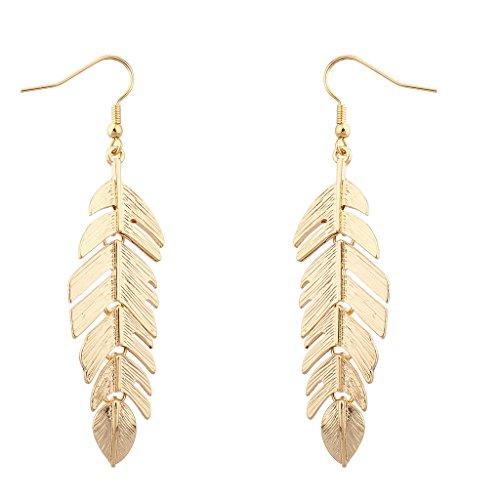 LUX accesorios dorado metal de hojas de árbol de la vida pendientes colgantes