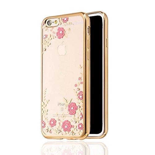 iPhone X XS 10 Hülle Bumper Case Cover Glitzer Glitter maxxmobile Hybrid Schutzhülle Extra Slim Stoßfest Tasche Schale Hardcase («Gold Blume»)