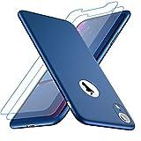 Losvick Coque iPhone XR, 360 Protection Complète [2-Pièces D'écran en Verre Trempé] PC Matière Ultra Mince Matte Housse Anti-Choc et Anti-Rayures Bumper Etui pour iPhone XR - Bleu