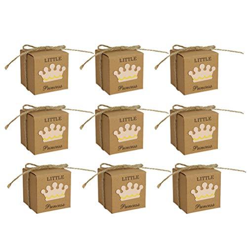 Vosarea 50 stücke Kleine Prinzessin Square Crown Kraftpapier Baby Shower Pralinenschachtel Party Geschenkboxen Mädchen Geburtstag Gefälligkeiten Box