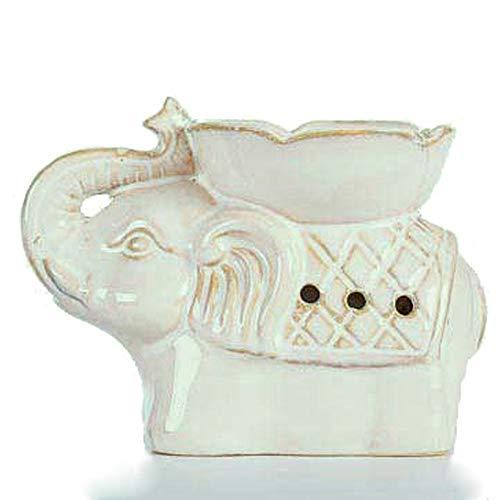 Better-way Quemador de Aceite de cerámica con diseño de Elefante para aromaterapia, Ideal para Velas de té, decoración del hogar (Incluye Vela de té)