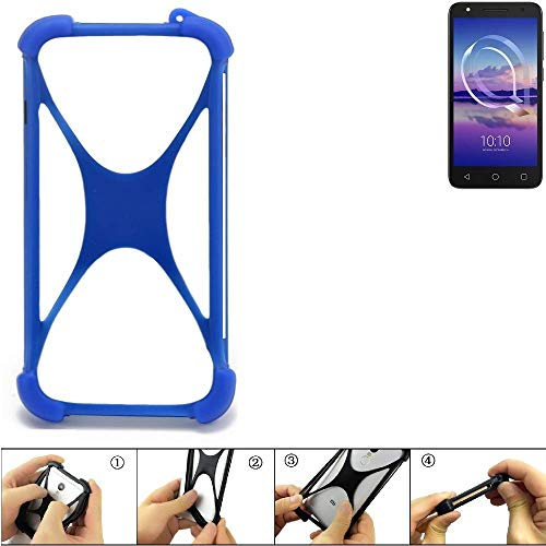 K-S-Trade Bumper für Alcatel U5 HD Single SIM Silikon Schutz Hülle Handyhülle Silikoncase Softcase Cover Case Stoßschutz, blau (1x)