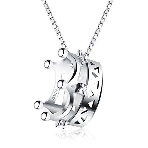 HAO SHOP Halskette 925 Sterling Silber Anhänger Prinzessin Corona Kette mit Anhänger in Form Einer einfachen Spüle 45cm Box Chain
