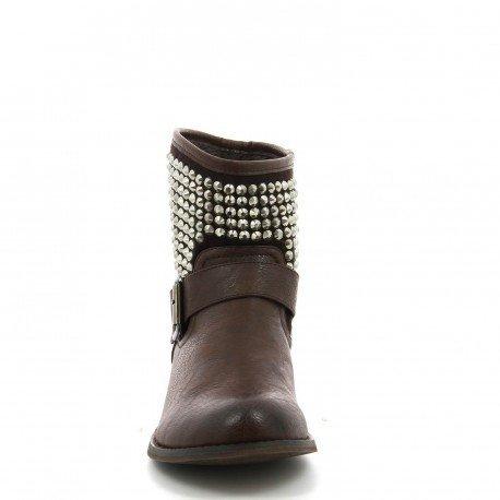 Ideal Shoes - Bottines bi-matière ornée de strass avec ceinturon April Marron