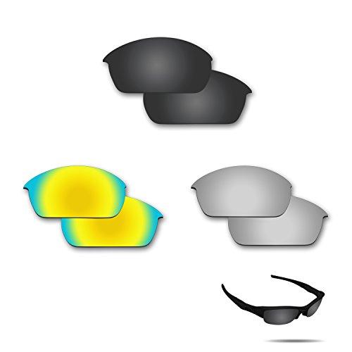 fiskr anti-saltwater Polarisierte Ersatz-Gläser für Oakley Flak Jacket 3Paar Pack, Stealth Black & Metallic Silver & 24K Gold