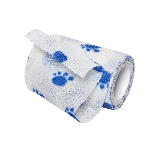 Flexible Selbstklebende Bandagen (2-TECH weißer Hundeverband mit blauem Pfotendruck selbsthaftende Bandage Haftbandage 7,5cm x 450cm Pfoten Verband)