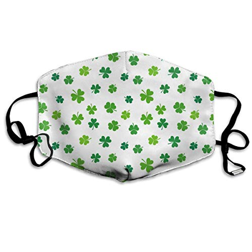 WBinHua Masken für Erwachsene, Mask Face, Mouth Mask, Breathable Mask Anti Dust, Unisex St. Patrick's Day Lucky Shamrock Printed Cotton Mouth-Masks Face Mask Polyester Anti-dust Masks -
