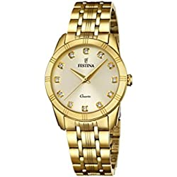 Festina BOYFRIEND Women's Quartz Watch with Gold Dial Analogue Display and Gold Stainless Steel Gold Plated Bracelet F16942/1