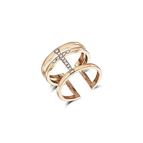 Hoxton & Co Womens Rose Gold Metal & Diamante Triple