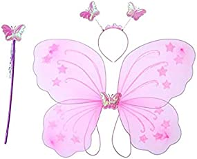 Days Off Fairy Butterfly Angel Wings Costume Birthday Party for Baby Girls Pink