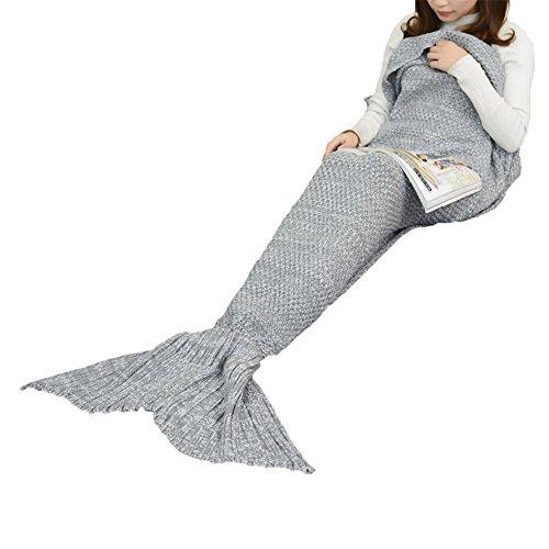 enipate Weich Dick Meerjungfrau Schwanz Decke Knit Crochet für Erwachsene Kinder Schlafsack, grau, Für Erwachsene