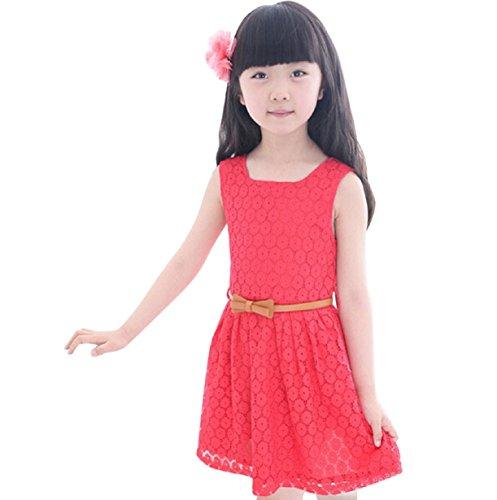 Longra Robe de Fille Veste d'Eté Robe Princesse Costume Enfant Sans Manches (7-8Y, Rouge)