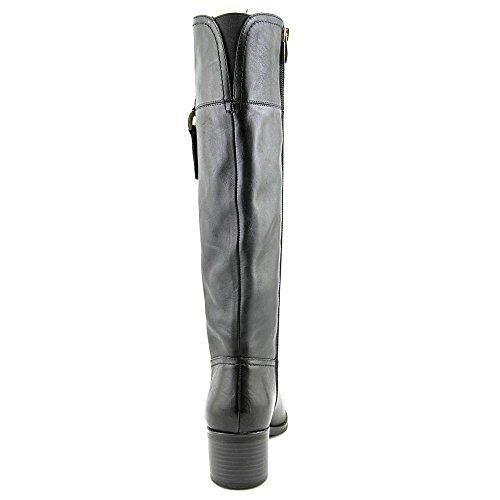 Franco Sarto Lizbeth Rund Leder Mode-Knie hoch Stiefel Black