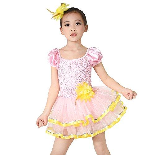 MiDee Kleine Mädchen Sequin Puff Ärmel Ballett Kostüm Tanzkleid (Rosa, IC)