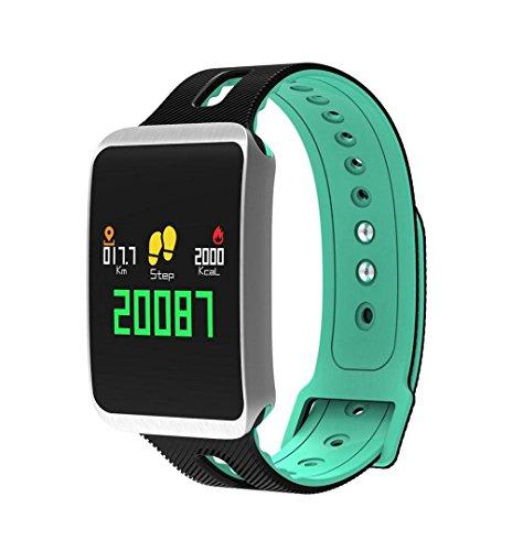 ZEZKT-Uhr┇SmartWatch mit LED-Display - Fitness Tracker Blutdruck Pulsmesser Aktivität Smart Armband des Blutdruckes Herzfrequenz Tracker Wasserdichte Fitness Armband (Mint)